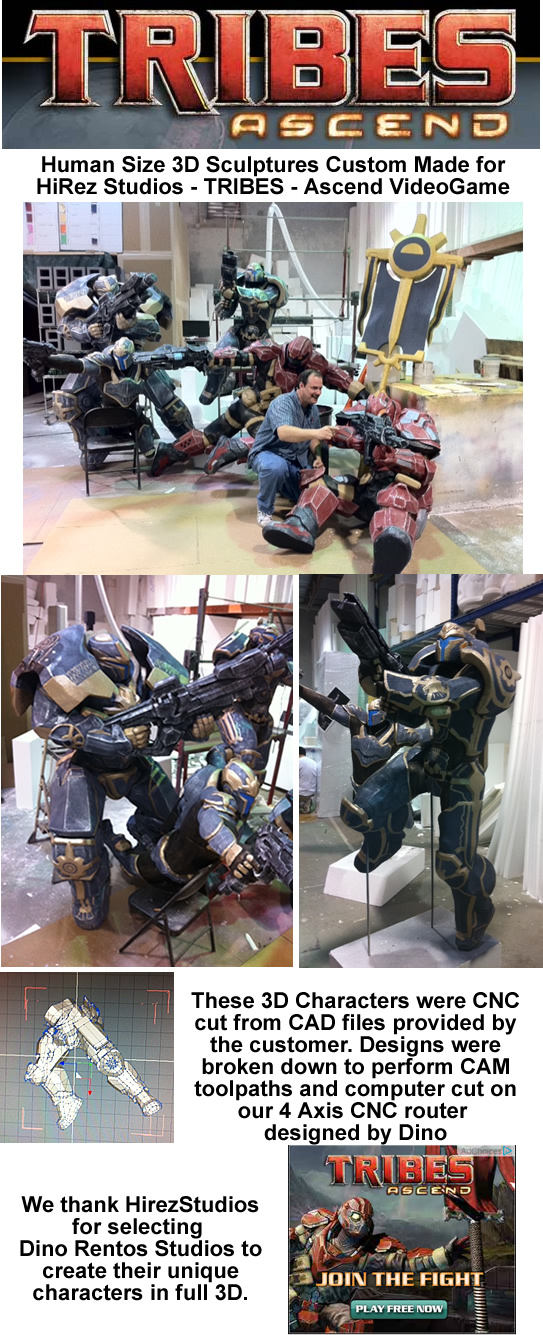 Tribes Ascend Video Game - Foam Prop Sculptures for Trade Show