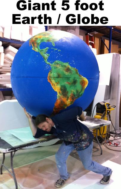 Giant Big Foam Earth - globe - Planet - Foam Prop -Display- Model