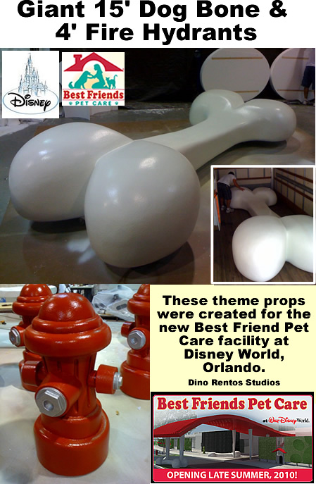 Big sculptures of fire hydrants and dog bone for Best Friend Pet care, Disney World