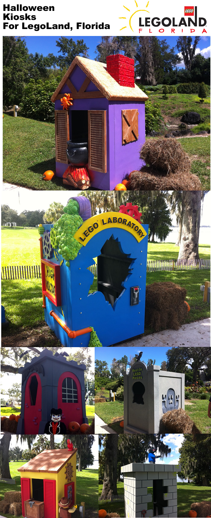 LEGOLAND Florida Halloween kiosks for kids to receive candy from staff in costume.