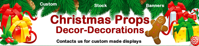 Christmas Props, Decor & Decorations. Made from foam and plastic. Stock and custom made.