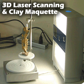 3D Laser scanning services and clay maquette sculpting