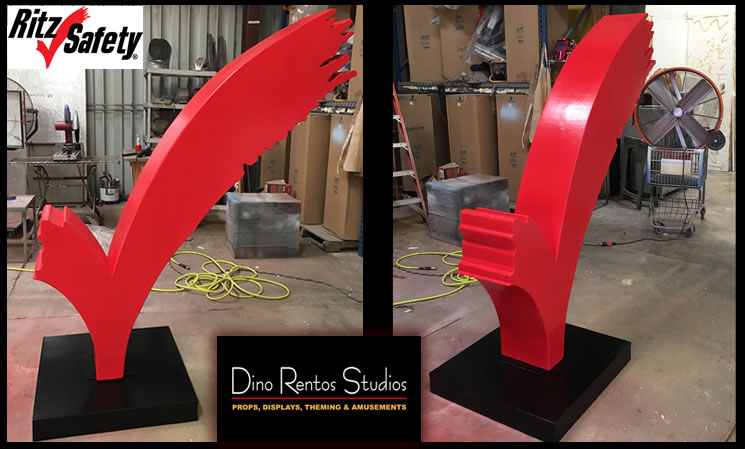 Giant check mark logo custom made scenic sculpture props for tradeshow display