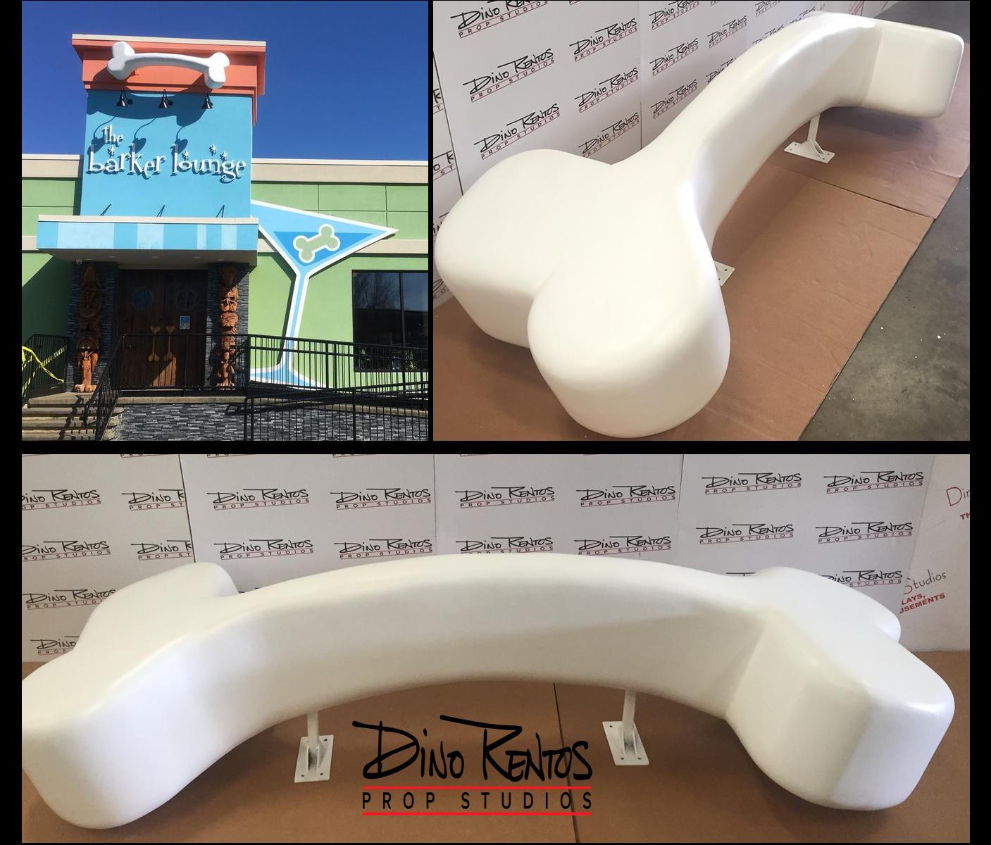 Large Foam Dog Bone for exterior sign Barker Lounge display prop retail signage