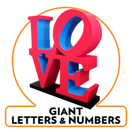 big - giant - foam - cardboard-plastic-wood number and letters