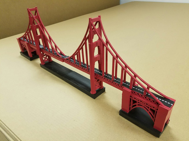 3 Foot - 3D Printed Scenic Prop - Golden Gate Bridge Centerpieces for Event