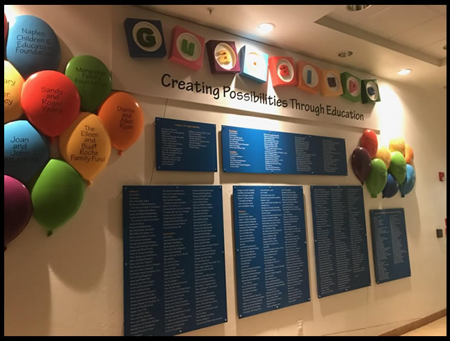 Custom Foam Sign and Balloon for Donor Wall