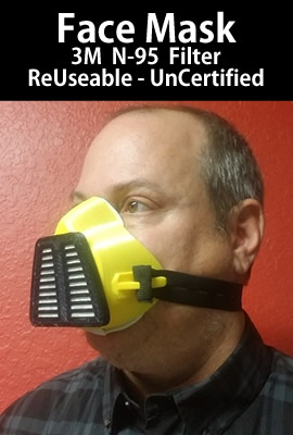 N95 Reusable Mask - 3M filter - UnCertified