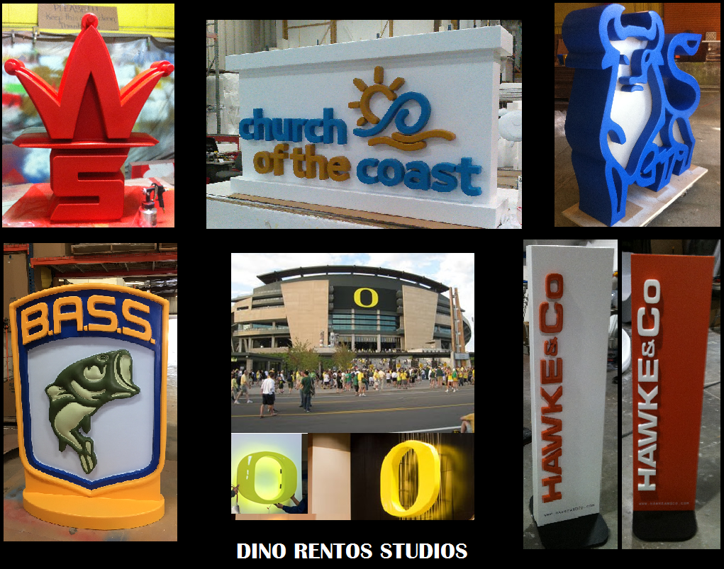 Custom Foam Logo and Signage Props and Scenic Sculptures and Displays for Tradeshows and Conventions