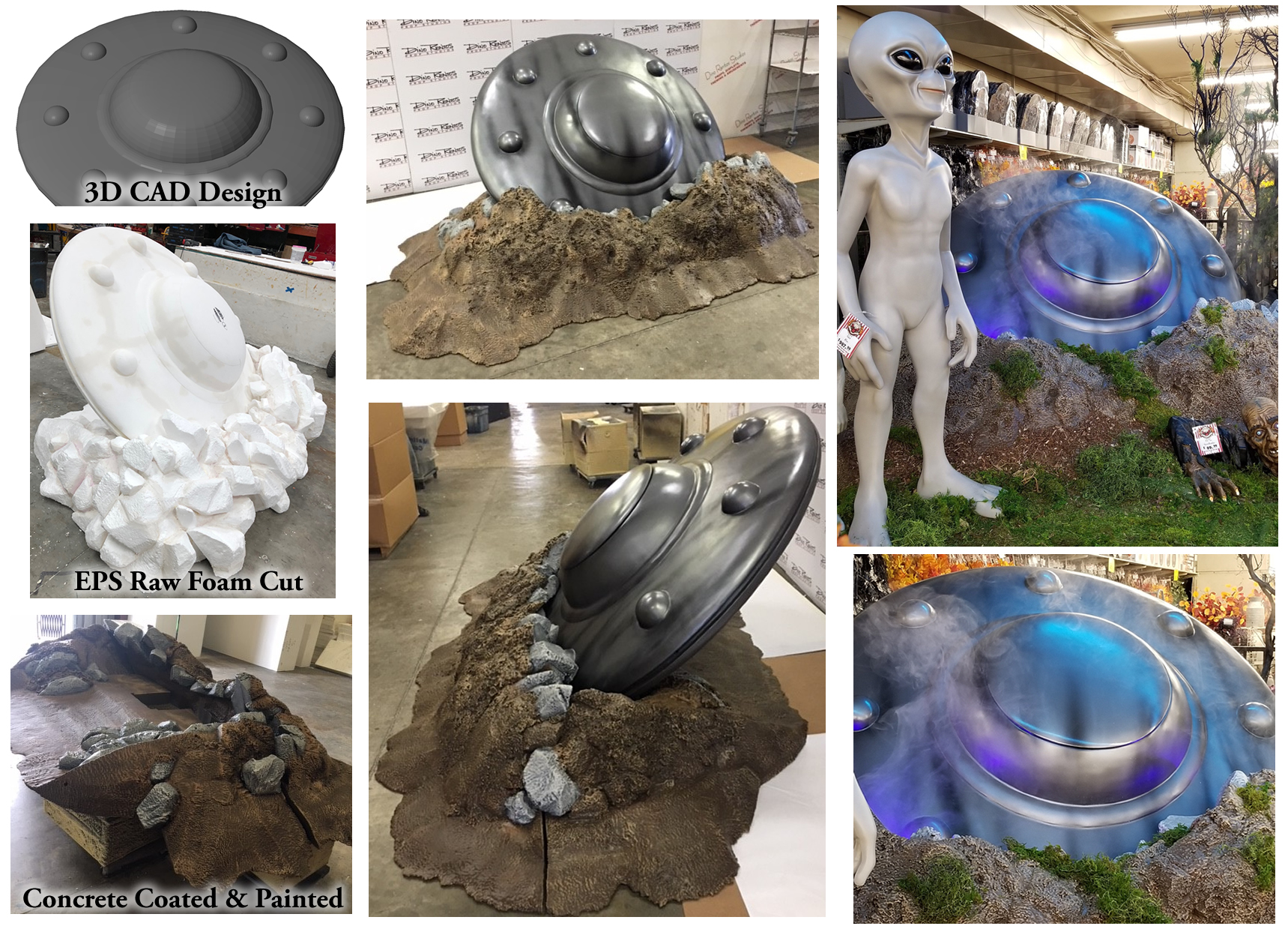 Custom Foam UFO Prop for Michaels Store Halloween Retail Display