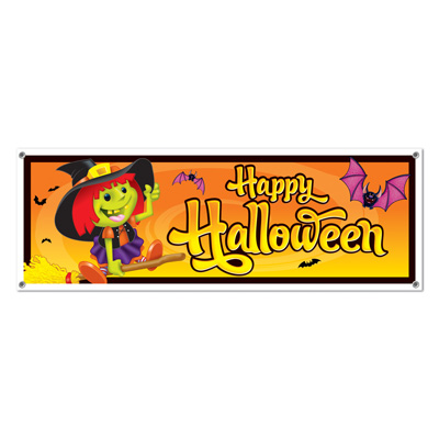 Happy Halloween Sign Banner 5' x 21""