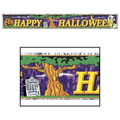 "Metallic Happy Halloween Fringe Banner 8"" x 5'"