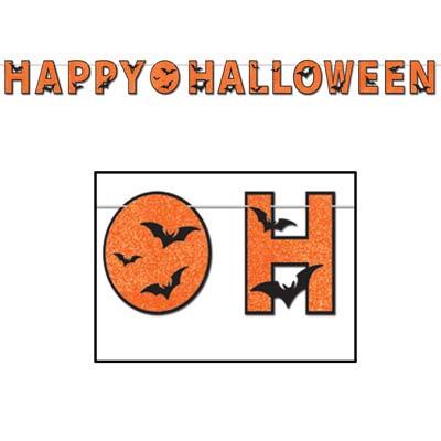 "Glittered Happy Halloween Streamer 8½"" x 11'"