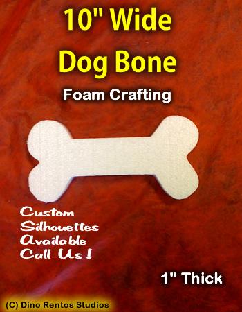 10 Inch Dog Bone Foam Shape Silhouette