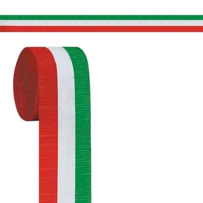 """FR Red, White & Green Crepe Streamer 2½"""" x 30'"""
