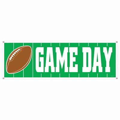 Game Day Football Sign Banner 5' x 21""