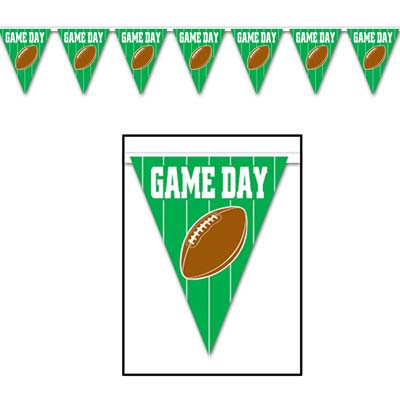 "Game Day Football Pennant Banner 10"" x 12'"