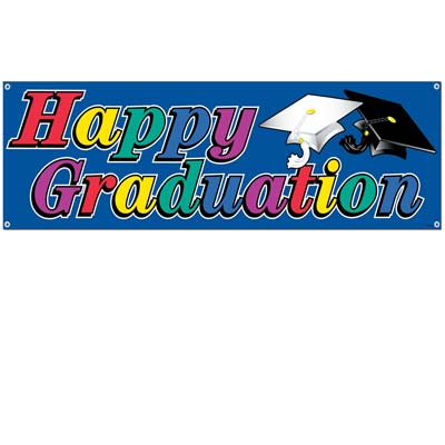 Happy Graduation Sign Banner 5' x 21""