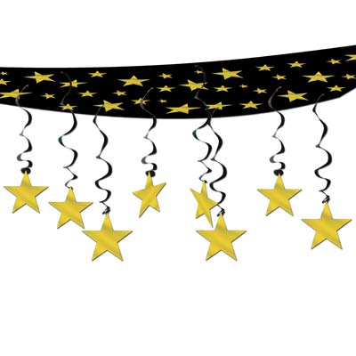 "The Stars Are Out Ceiling Décor 12"" x 12' Black and Gold"