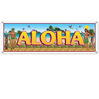 Tropical Beach Sign Banner 5' x 21""