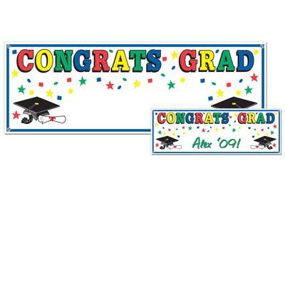 """Congrats Grad Sign Banner 5' x 21"""""""