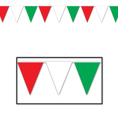 "Red, White & Green Pennant Banner 18"" x 30'"