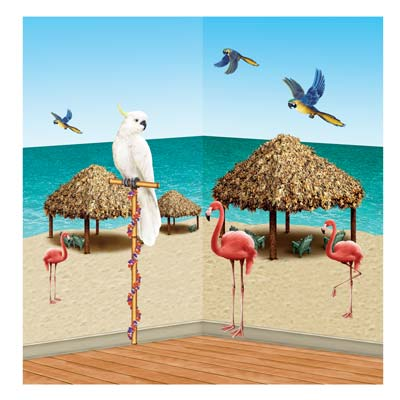 "Tiki Hut & Tropical Bird Props 8""-50"""