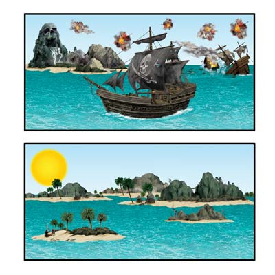 "Pirate Ship & Island Props 3½""-41½"""