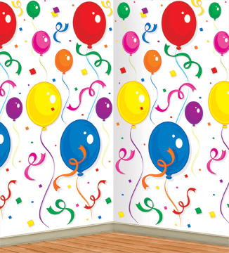 Balloons & Confetti Backdrop 4' x 30'