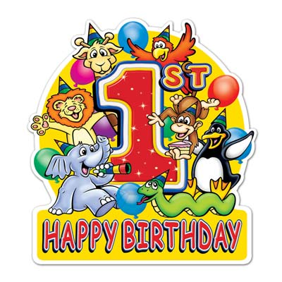 "Happy 1st Birthday Sign 19"" x 13½"""