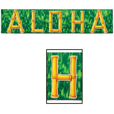 """Metallic Aloha Banner 10"""" x 4'"""
