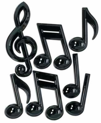 """Black Plastic Musical Notes 13"""""""