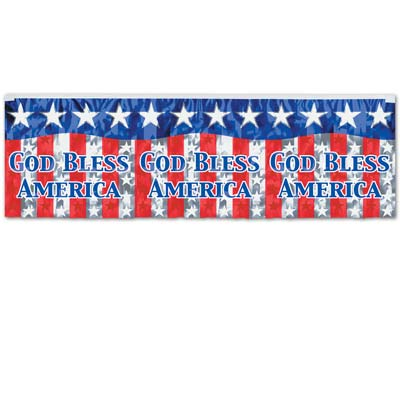 FR Metallic God Bless America Fringe Banner