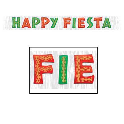 "Metallic Happy Fiesta Banner 10"" x 8'"
