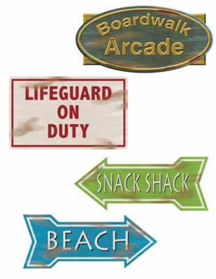 Beach Sign Cutouts 14""