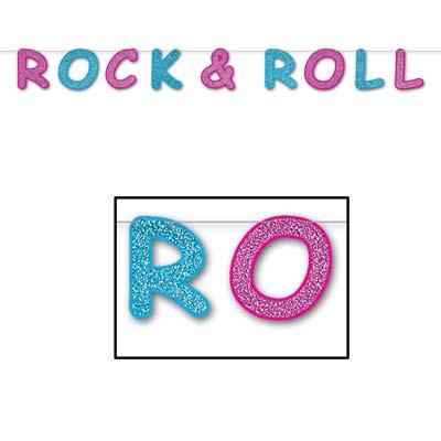 "Glittered Rock & Roll Streamer 8½"" x 8'"