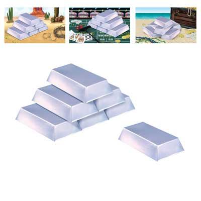 "Plastic Silver Bar Decorations 7"" x 4"" x 1½"""