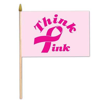 "Pink Ribbon Flag - Rayon 4"" x 6"""