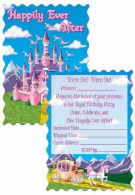 "Princess Party Invitations 4"" x 5½"""