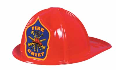 Red Plastic Fire Chief Hat