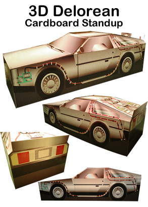 3D Delorean Cardboard Cutout Standup Prop