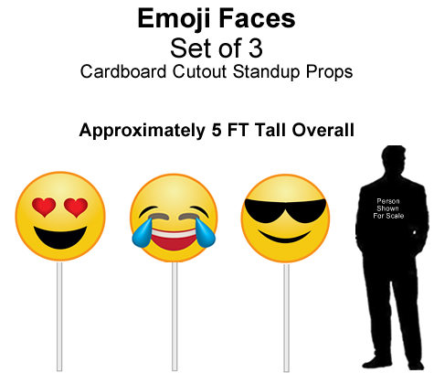 Emoji Faces Cardboard Cutout Standup Prop - Self Standing - Set of 3