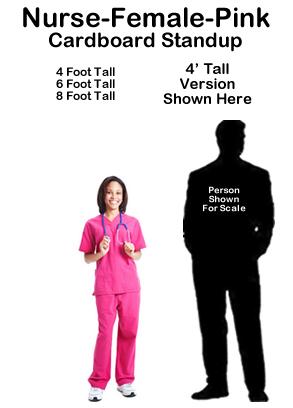 Nurse Female Pink Cardboard Cutout Standup Prop