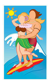 Surfer Couple Photo Face Cutout