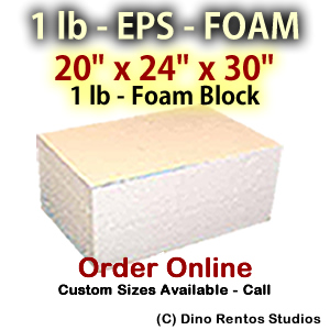 EPS Foam  Block - 1 lb Density - 20x24x30