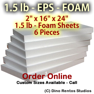 EPS Foam  Sheet - 1.5 lb Density - 2x16x24 - 6 Pieces