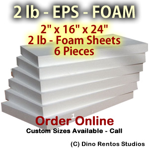 EPS Foam  Sheet - 2 lb Density - 2x16x24 - 6 Pieces