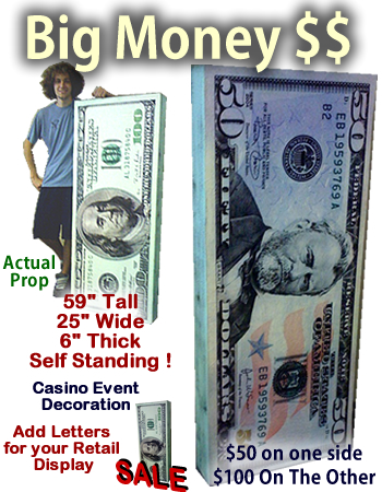 Big Money 100$ & 50$ Self Standing Foam Prop Display