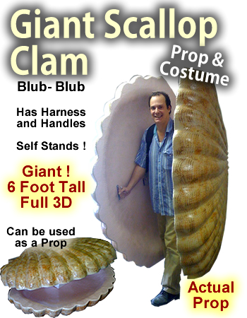 6 Foot Giant Clam/Scallop Foam Prop/Costume