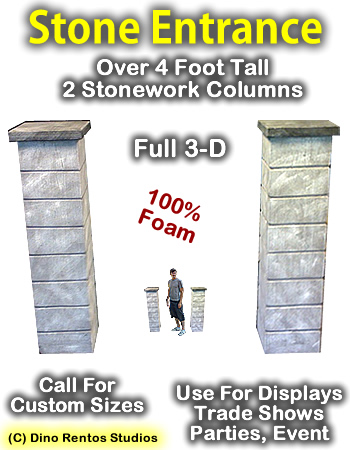4 Foot Stone Column Entrance